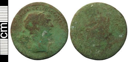 HAMP-F0C9B6: Roman coin: Sestertius of Hadrian