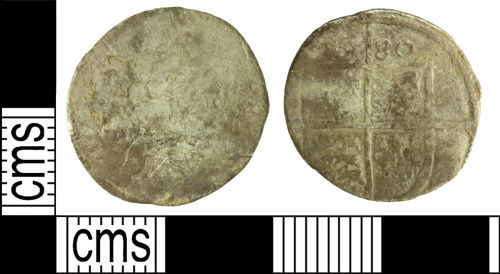 WILT-722A7C: Post-medieval coin: Sixpence of Elizabeth I