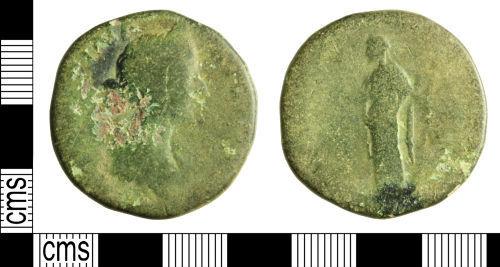 WILT-90E573: Roman coin: Sestertius of Faustina II
