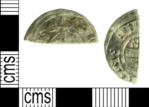 WILT-F5B1A3: Medieval coin: Cut halfpenny of John