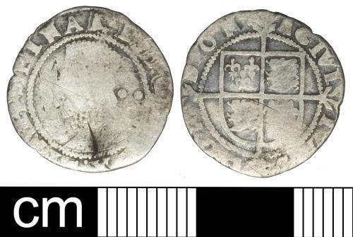 SOM-3C9156: Post-medieval coin: Halfgroat of Elizabeth I