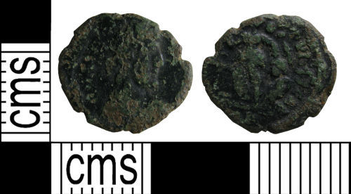 A resized image of Roman coin: Nummus of Theodosius II