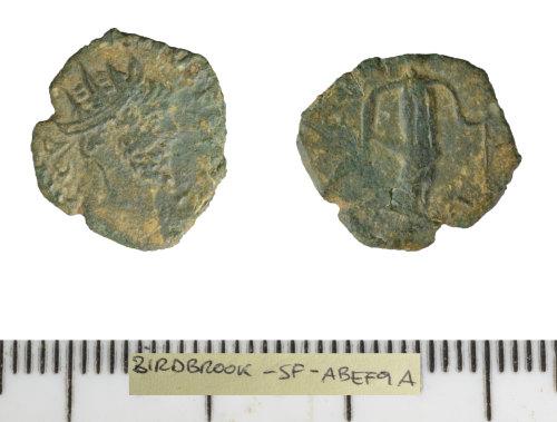 SF-ABEF9A: Roman coin: contemporary copy of a radiate (Barbarous radiate),
