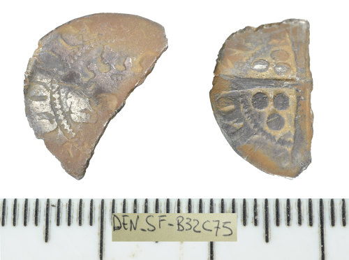 SF-B32C75: Medieval coin: Continental cut half penny imitation of a sterling type.