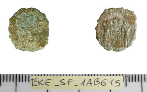 SF-1AB615: Roman coin: contemporary copy of a nummus of the Huse of Constantine.