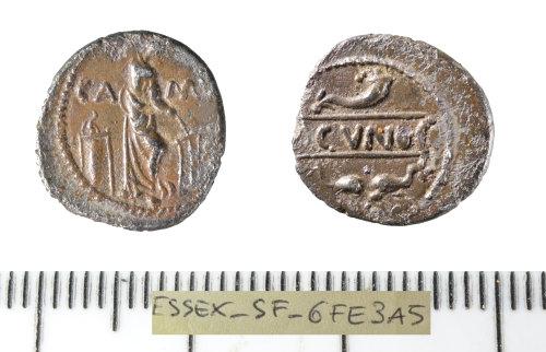 SF-6FE3A5: Iron Age coin: silver unit of the North Thames region/Catuvellauni-Trinovantes, struck by Cunobelinus,