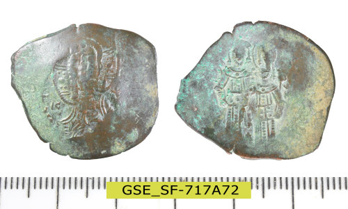 A resized image of Byzantine coin: aspron trachy nomisma of the Emperor Alexios III Angelos.