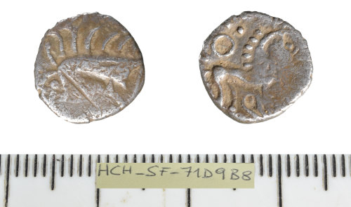 SF-71D9B8: Iron Age coin: silver Unit of the Iceni/East Anglian region.