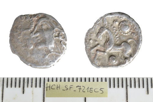 A resized image of Iron Age coin: silver Unit of the Iceni/East Anglian region.