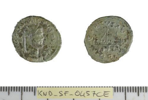 SF-0457CE: Roman coin: radiate of Allectus.