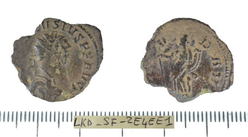 SF-2E4EE1: Roman coin: radiate of Carausius.