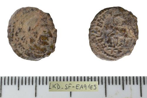 SF-EA91E5: Roman coin: contemporary copy of a nummus of Constantius II.