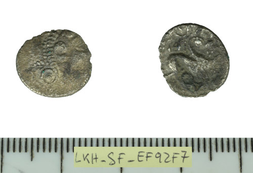 SF-EF92F7: Iron Age coin: silver unit of the Iceni/East Anglian region.