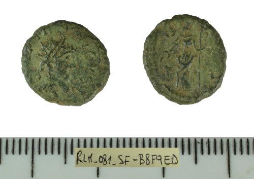 SF-B8F9ED: Roman coin: Barbarous radiate, copying a coin of Tetricus I