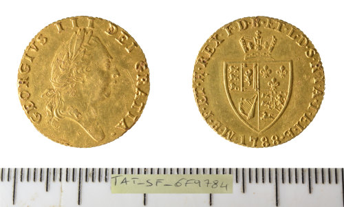 SF-6F9784: Post Medieval coin: half Guinea of king George III.