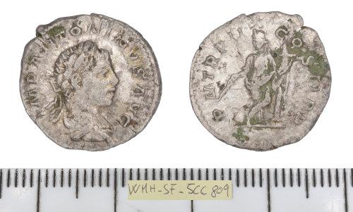 SF-5CC809: Roman coin: denarius of Elagabalus ( plated contemporary copy).