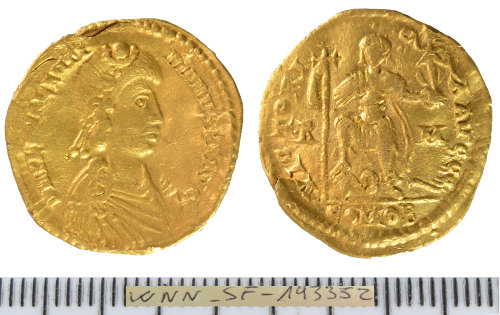 SF-193352: Roman coin: solidus of Valentinian III .