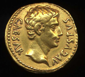 Obverse image of a coin of Augustus
