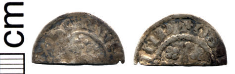A resized image of Medieval coin: Cut halfpenny of Henry II (Class 1b)