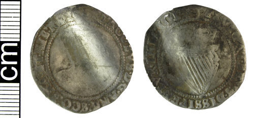 HAMP-1565A7: Post-medieval coin: Irish shilling of James I