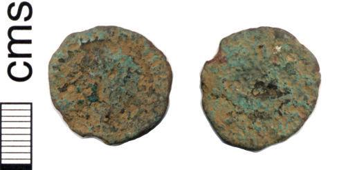 HAMP-465FA6: Roman coin: Radiate of Allectus (probably)