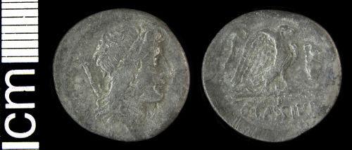 HAMP-4B2510: Roman coin: Republican denarius (Q. Cassius Longinus)