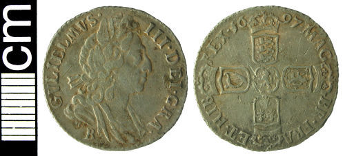 HAMP-4DA9A6: Post-medieval coin: Sixpence of William III