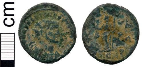 HAMP-6A1421: Roman coin: Radiate of Allectus