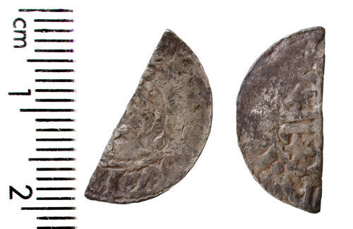 HAMP-6C6A42: Medieval coin: Scottish cut halfpenny of either William I or Alexander II