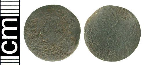HAMP-7BB753: Post-medieval trade token farthing (possibly)