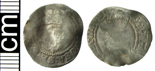 HAMP-8024D7: Post-medieval coin: Half groat of James I