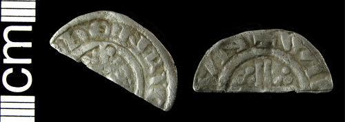 HAMP-88C2C7: Medieval coin: Cut halfpenny of Richard I (probably)