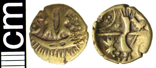 HAMP-97F190: Iron Age coin: Quarter stater of Uninscribed British 'O' type
