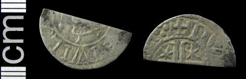 HAMP-A69C32: Medieval coin: Scottish cut halfpenny of either William I or Alexander II