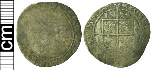 HAMP-BC13F2: Post-medieval coin: Sixpence of Elizabeth I