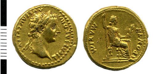 HAMP-CC27E5: Roman coin: Aureus of Tiberius