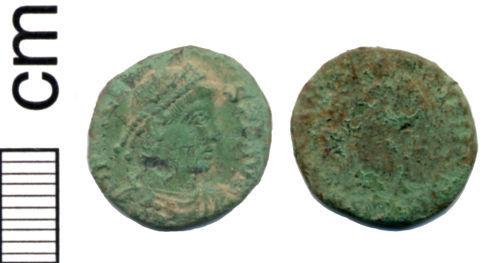 HAMP-E3C828: Roman coin: Nummus of Valens (probably)