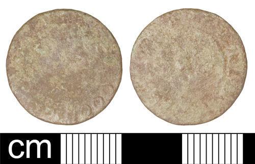 SOM-25AAD1: Post-medieval trade token farthing issued by William Goodridge of Bridgwater, Somerset