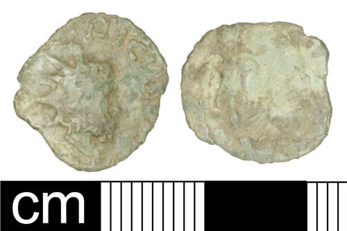 SOM-34ACE7: Roman coin: Irregular (barbarous) radiate copying Tetricus I