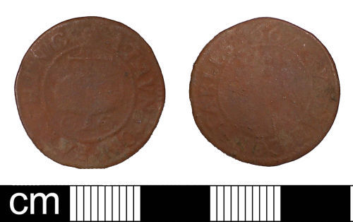 SOM-56A9F4: Post-medieval trade token farthing issued by the Constables of Taunton