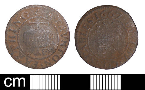 SOM-685DE4: Post-medieval trade token farthing issued by the Constables of Taunton