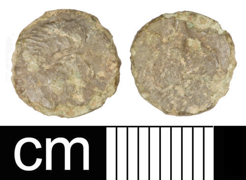 SOM-914D92: Roman coin: Irregular nummus copying the House of Constantine