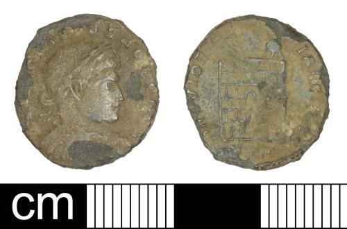 SOM-B85B7B: Roman coin: Nummus of Crispus as Caesar