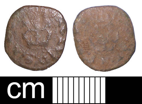 SOM-BF2C73: Post-medieval coin: Rose farthing of Charles I