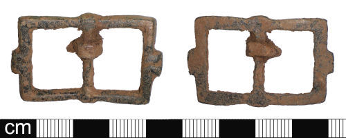 SOM-C1DF55: Post-medieval double-looped buckle