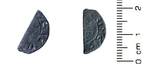 HESH-4F3ED3: Medieval Coin: Cut halfpenny of King John