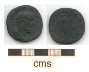 A resized image of early Roman coin: copper alloy As