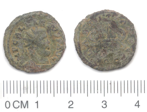 NARC-7877E5: Roman coin: copper alloy radiate of Allectus, galley reverse.