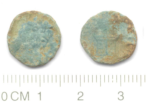 NARC-78BA12: Roman coin: copper alloy nummus, CONSECRATIO altar issue