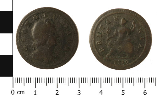 A resized image of Post Medieval coin: halfpenny of George I